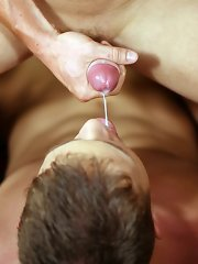 To cap it all he fires his thick creamy load into his mate's mouth, who licks up every last drop